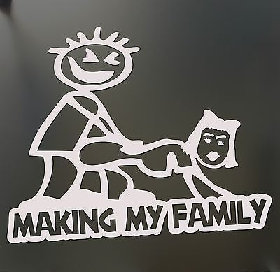 Drop shipping Making my stick figure family Funny Banging Decal Bumper Sticker car window(China (Mainland))