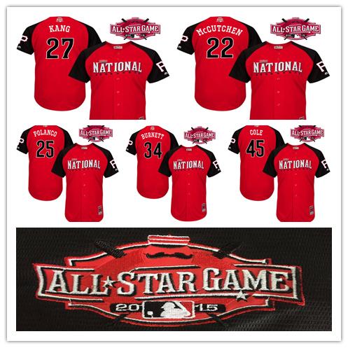 Andrew McCutchen Jersey 2015 MLB All Star Jersey Pittsburgh Pirates 45 Cole,25 Polanco,27 Jung Ho Kang,34 A.J Burnett Jersey(China (Mainland))