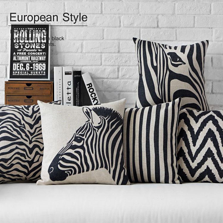 Acheter moderne noir blanc zebra oreiller - Coussin pour canape noir ...