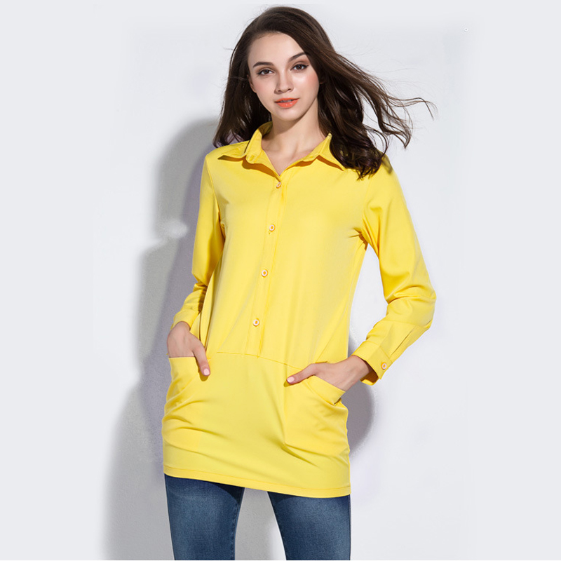 2015 fall long sleeve women yellow t shirts plus size