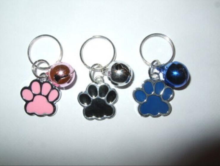 50pcs Fashion Jewelry Drip Glaze Dog Paw Print&Mix Bell Charm Anti-Theft Keychain DIY Fit Key Circle Accessories Free Gift(China (Mainland))