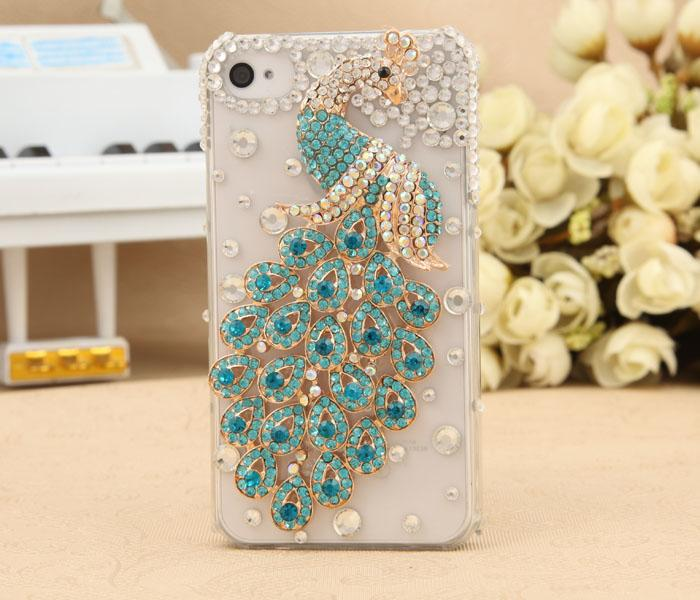 Bling Peacock New 3D Crystal Transparent jeweled cellphone cover for iphone 5(China (Mainland))
