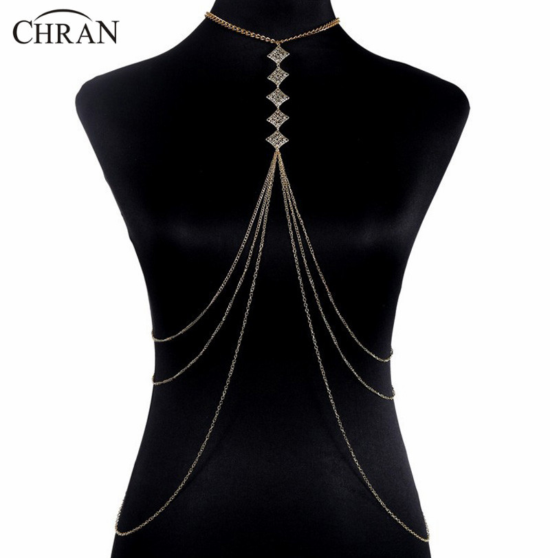 Luxury Fashion Stunning Sexy Body Belly,Gold Full Body Chain Slave Harness Shoulder Necklace Jewelry DFJ5050440(China (Mainland))