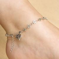 2015 году старинные серебряные сердца кулон браслеты для женщин простой цветок на цепи Браслеты Браслет на ногу стопы