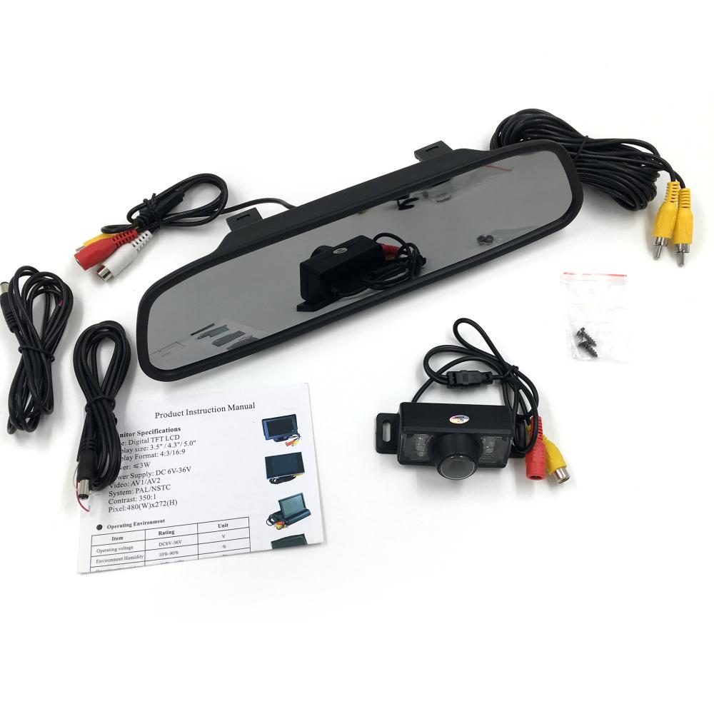 High quality 7 LED Waterproof Night Vision HD Car Camera Monitor + 4.3 inch Car Rear View Mirror Monitor for Parking Backing(China (Mainland))