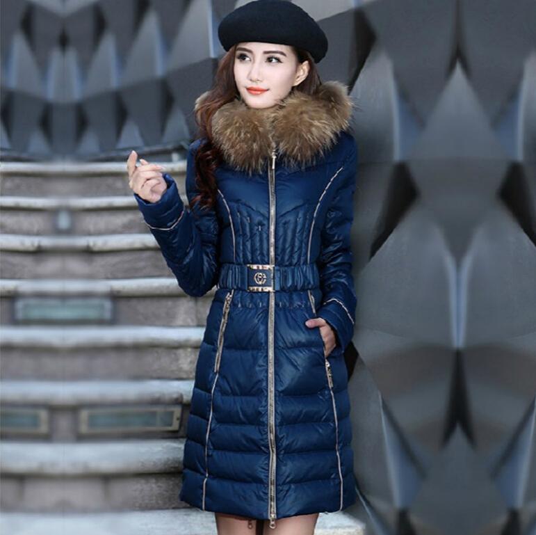 Latest Fashion Women Winter Elegant Slim Medium Long Down jacket Heavy hair collar Hooded Thickening Super Warm Coat Women G1785Одежда и ак�е��уары<br><br><br>Aliexpress