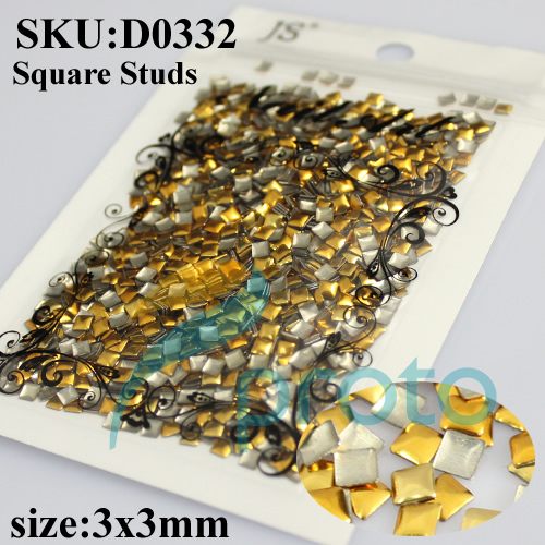 3mm Gold Square Metal Stud Rhinestones Handcraft DIY 3D Nails Decoration Acrylic Nail Art Decorations SKU:D0332