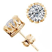 Valen bela moda crown 18 k placcato oro dei monili 6mm 2 carati aaa cubic zirconia piccoli orecchini della vite prigioniera per donne ED2699(China (Mainland))