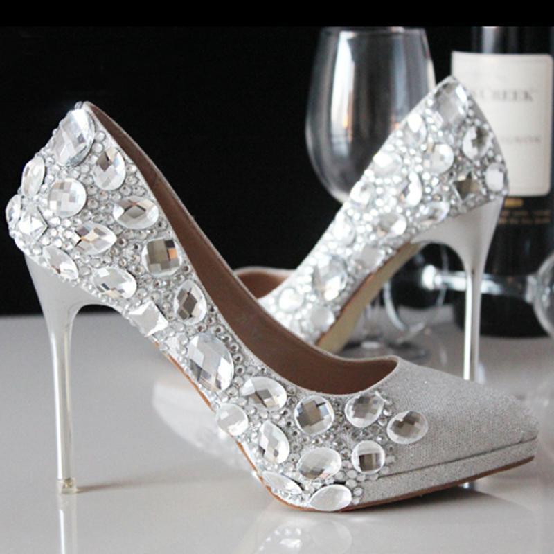 Popular Silver Bridal Shoes Low Heel Buy Cheap Silver Bridal Shoes Low Heel Lots From China