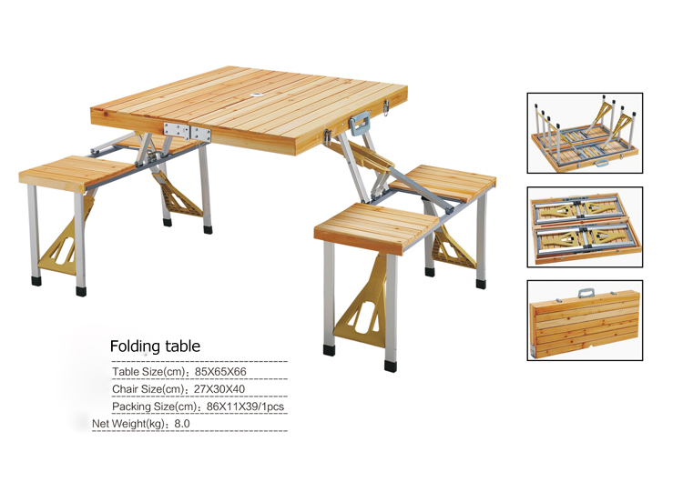 Outdoor furniture folding table sets portable wood tables for Compact table and chairs set