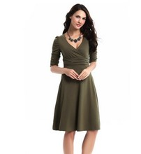Vestidos 2016 Spring New Fashion Women Summer Dress Sexy V-NecK Wrap Robe Casual Dresses Plus Size Solid Office Work Dress XXL(China (Mainland))