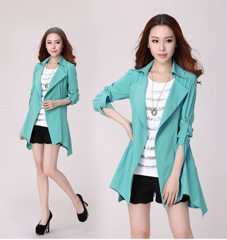 2015 Autumn Europe Style Womens Outwear Plus Size Trench Coats Turn-down Collar Slim Mid Long Cardigan Elegant Thin Coat - Fashion Trendy Store store