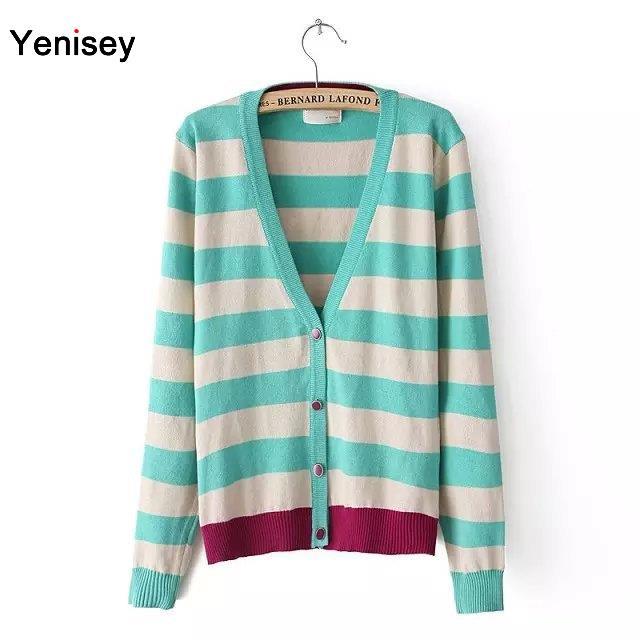 2015 Special Offer Top Fashion Regular Cardigan Women Cardigan Ym-20 European Style Fashion V Collar Ladies Stripe Sweater 0707(China (Mainland))