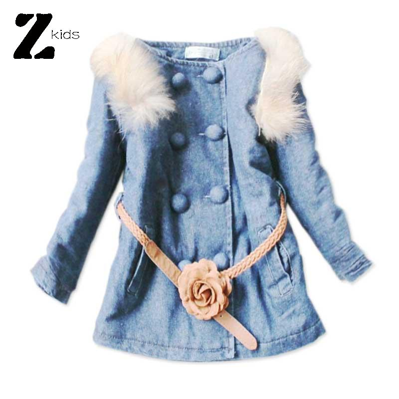 Children Girl Denim Jacket Outerwear Baby Coat Fur Collar With Belt 6-8 Years Old Warm Thick Kids Winter Clothes 2015 Retail(China (Mainland))
