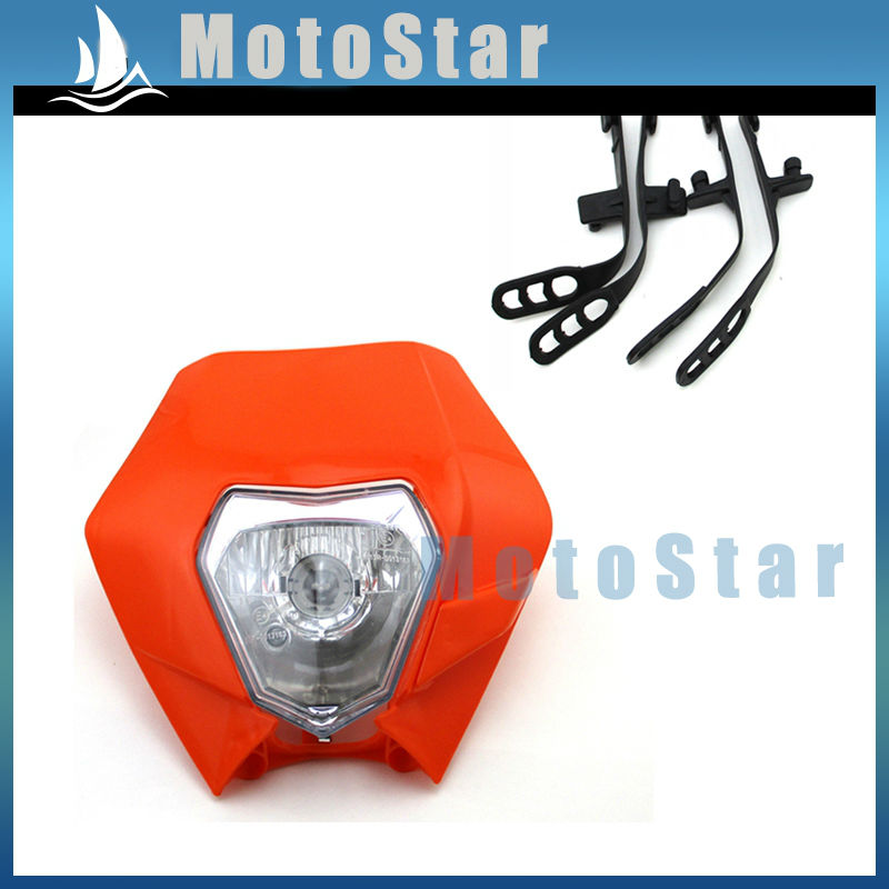Motorcycle Orange Head Front Light Headlight For CR CRF XR RM KLX WR DRZ YZ YZF TTR KZ KX KD KDX Motocross Pit Dirt Bike(China (Mainland))