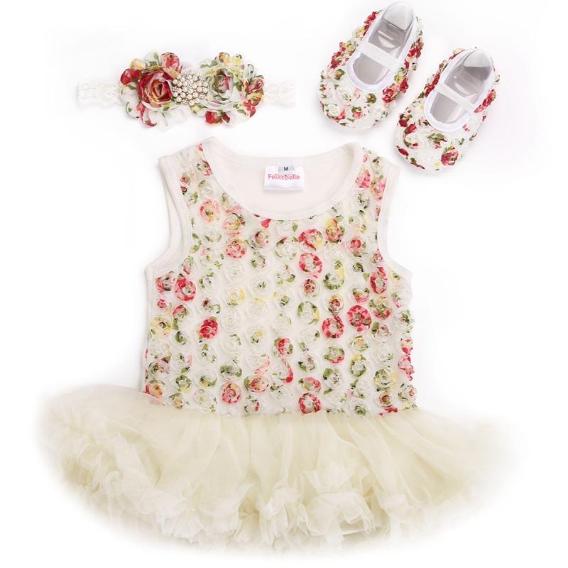 Rosette Baby Girls Tutu Dresses Rhinestone Headbands Soft Shoes,Vestido Infantil Menina,Baby Dress,Toddler Clothing Set,#7A5342(China (Mainland))