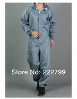 high quality can permanent cleaning 100% Polyester Filament +conductive fibre Grey Anti-static coverall protective clothing