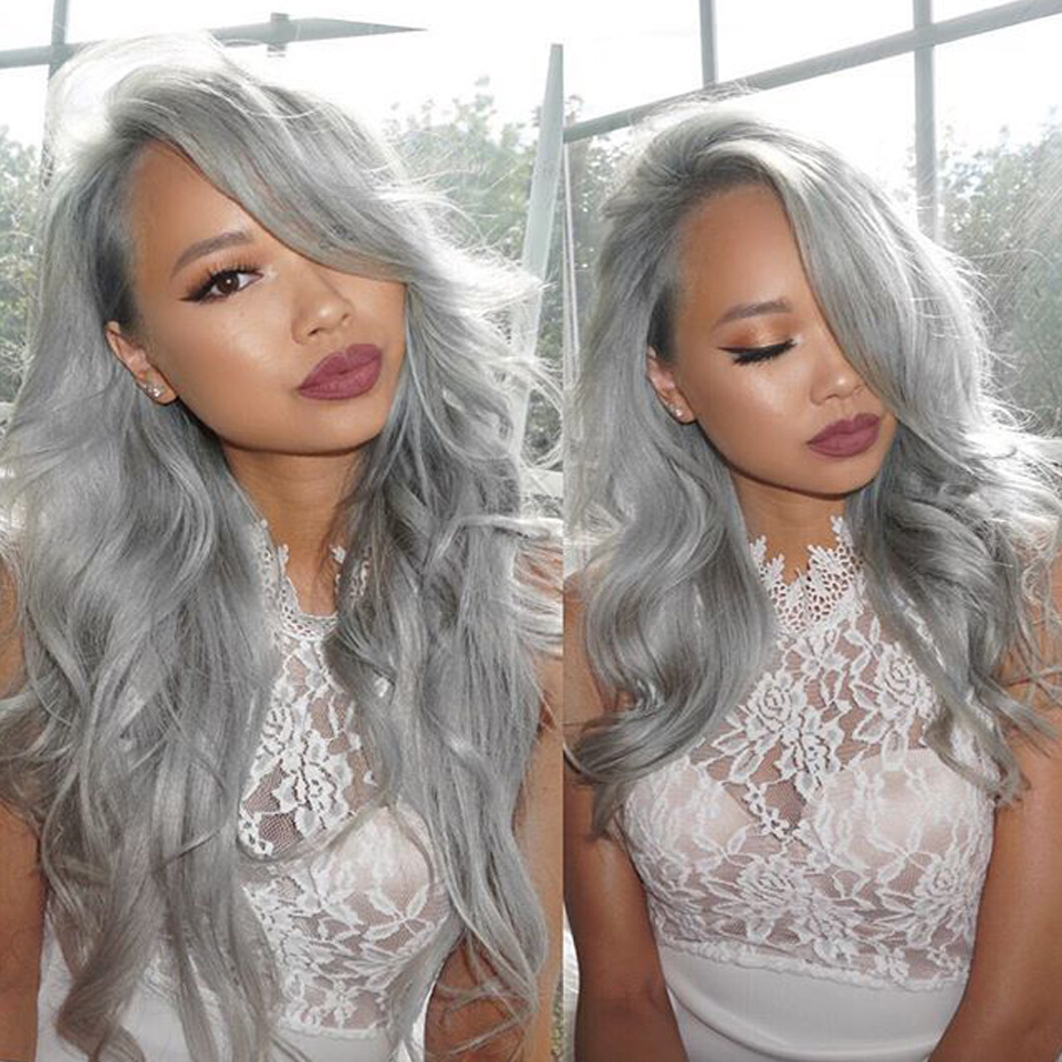Hot Brazilian grey full lace human hair wigs wavy silver gray glueless front lace wigs 130% density with Bleached knots gray wig<br><br>Aliexpress