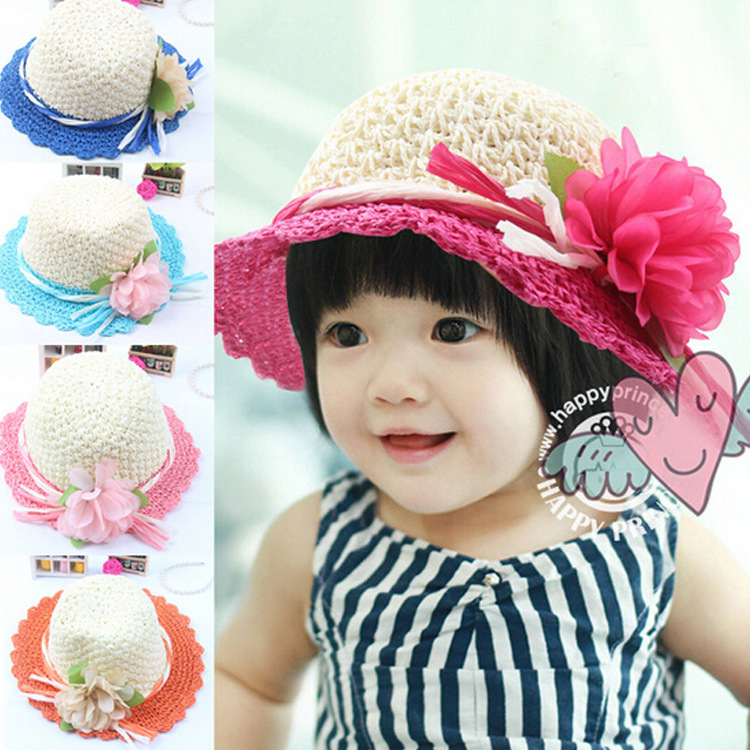 2015 new children a large flower handmade crocheted rope straw hat sun hat straw hat wholesale(China (Mainland))