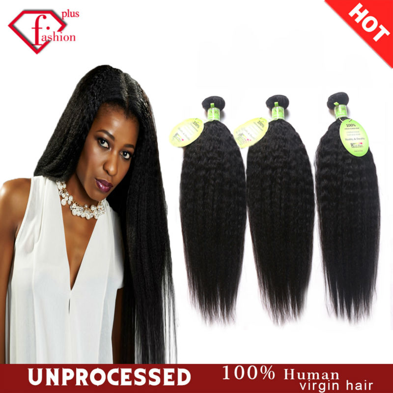 7A Brazilian Virgin Hair Kinky Straight Knots 3Pcs Brazilian Hair Bundles Yaki Brazilian Straight Coarse Yaki Human Hair Weaving(China (Mainland))