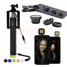 Buy Camera lentes Kit Universal Clip Macro Wide Angle Lenses Fisheye lens iPhone Samsung Selfie Stick Monopod Selfie Flash Light for $8.37 in AliExpress store