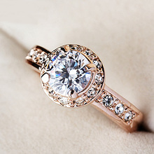 Buy MOONROCY Free Jewelry Rose gold color Wedding Zirconia Stone Austrian Crystal Rings Couples ring man woman for $5.04 in AliExpress store