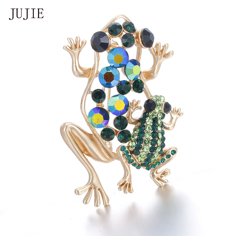JUJIE Rhinestone Frog Brooches For Women 2017 Brooch For Wedding Lapel Gold Color Crystal Pins Brooches Fashion Jewelry(China (Mainland))