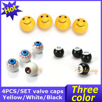 4pcs/ Set Car Round Valve Cap Covers Ball Motorcycle Air Stem Eye Ball Tyre Tire Caps Cover For Wheel ABS Yellow/White/Black