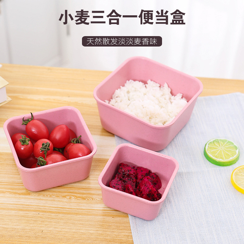 3 pcs set High Quality Lunch Boxs Microwave School Lunch Boxs For Kids Wheat Fiber Food Boxs(China (Mainland))