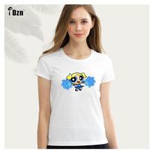 ฤดูร้อนของผู้หญิงเสื้อยืดแขนสั้นพิมพ์เสื้อTการ์ตูนPower Puff G Irlsดอกฟองบัตเตอร์กราฟิก(China)