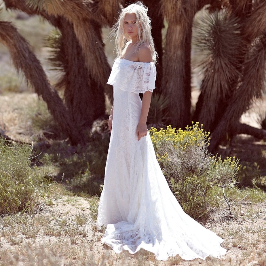 New 2015 bohemian wedding dresses white elegant off the for Bohemian white wedding dress