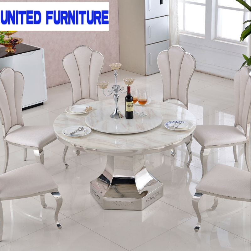 luxury European style Metal Round Dining Table white furniture marble dining table round dining table wholesale price(China (Mainland))