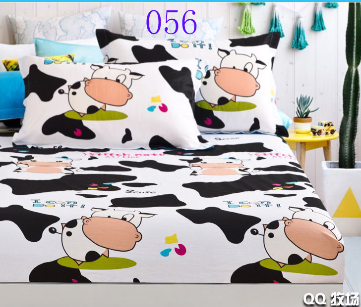 Black white cows cotton fitted sheet single double bed for Beds 120 x 200