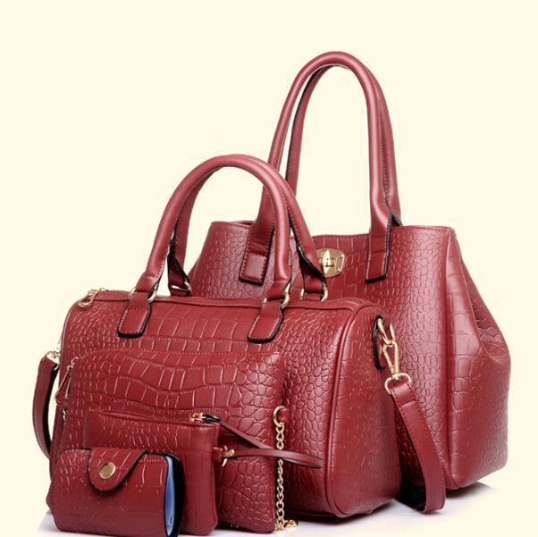Suprise!Buy One Get Four! Crocodile handbag women brief big bag alligator trapeze PU Weave Picture package cross-boby wholesaler(China (Mainland))