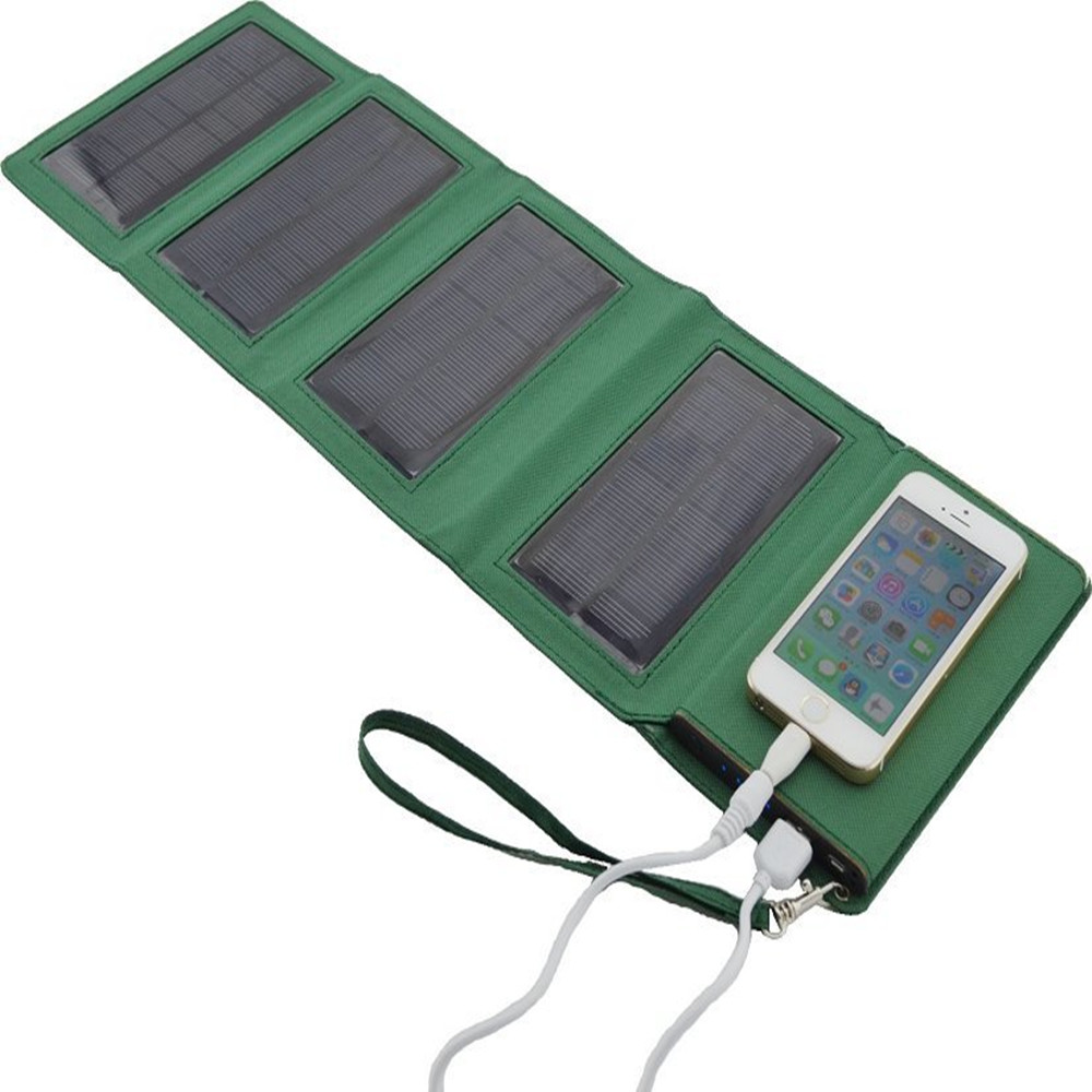 Portable power bank 8000mAh Folding solar storage power bateria externa cargador portatil universal powerbank with LED Light