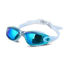 Ectroplating UV impermeable Anti niebla traje de baño Gafas de natación buceo Gafas de agua Gafas de natación ajustables mujeres hombres(China)