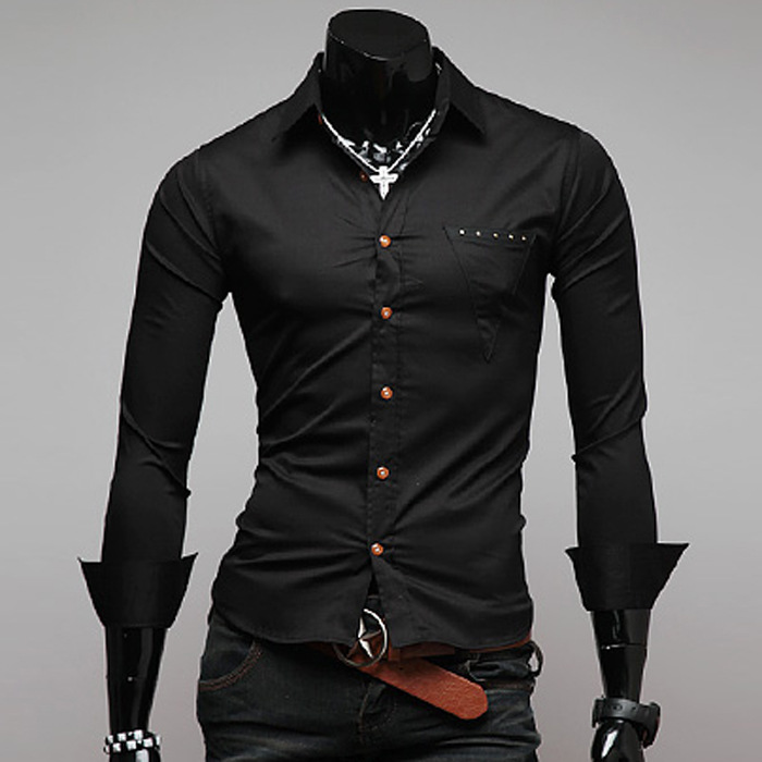 Black Long Sleeve Button Down Shirt Mens | Is Shirt