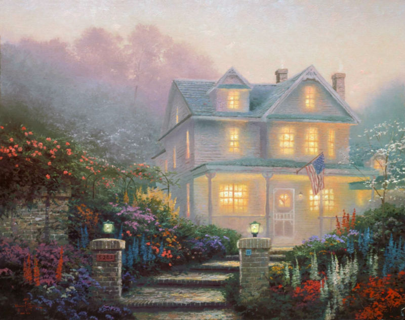 Thomas kinkade Prints on canvas famous oil painting Print reproduction landscape home decor wall the Victorian-Evening v(China (Mainland))