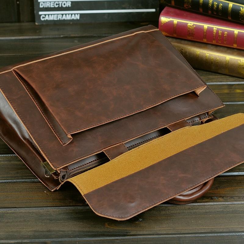 Vintage Men Business Faux PU Leather Briefcase Male Travel Causal Messenger Shoulder Portfolio Laptop Bags Lawer Handbag Bolsa (22)