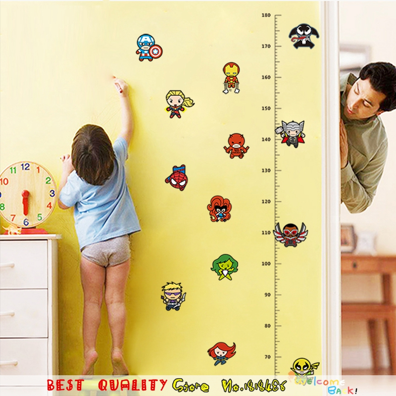 Iron Man AVENGERS Wall Stickers Captain America Spiderman SuperHeros Wall Decal Kids Room Decoration Height Measure Growth Chart(China (Mainland))