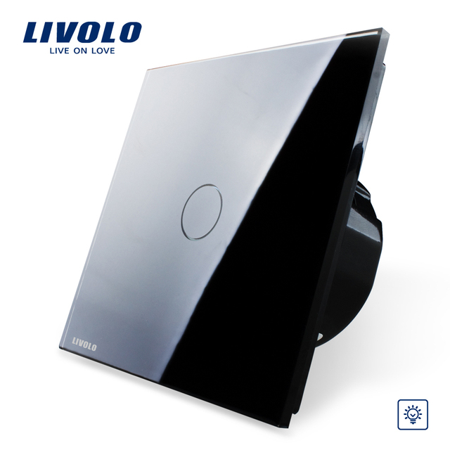 Livolo EU Standard, Wall Switch, Dimmer Switch VL-C701D-12, Black Crystal Glass Panel, 220~250V Wall Light Touch Dimmer Switch