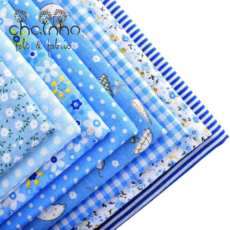 Thin Cotton Fabric Patchwork For Sewing Scrapbook Cloth Fat Quarters Tissue For Quilt Needlework Pattern 50*50cm Blue 8pcs(China (Mainland))