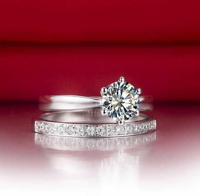 2.55 carat 2 rings combine fine jewellry set pleasant man made synthetic diamond wedding ring Romantic anniversary Gift(China (Mainland))