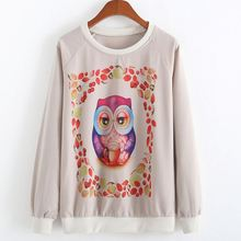 2014 Women Sweatshirts Casual Women Printed Sweatshirt Female Owl Fashion Sudaderas Sports Suits Girls Hoodie Women Hoody(China (Mainland))