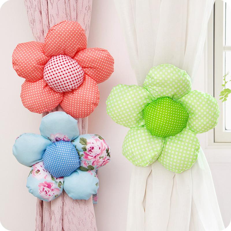 New 2016 Cute Sun Flower Curtain Tiebacks Window Decoration Bedroom Curtain Tiebacks Buckle Hooks Home Decor 1PC(China (Mainland))