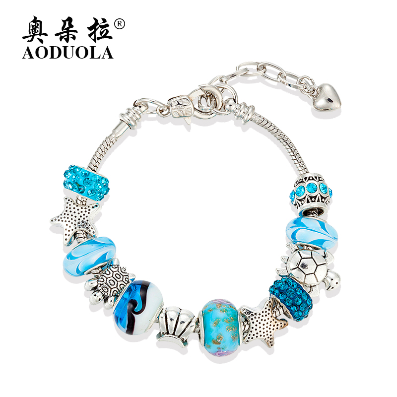 aliexpress buy fashion blue glass charm