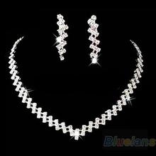 New Fashion Bridal Wedding Prom Jewelry Crystal Rhinestone Diamante Necklace & Earring Set 89DY(China (Mainland))