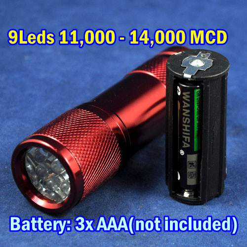 Hot Sell NEW Cheapest Small Mini LED Flashlight 9leds Red Color Shell Portable LED Torch Light(China (Mainland))