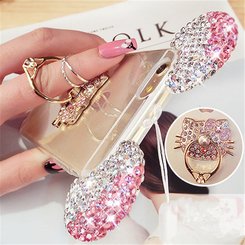 For iPhone 5 5S SE 6 6S 7 Plus Cute Mickey Mouse ear Bling Diamond phone case with love cat finger ring handmade with lanyard