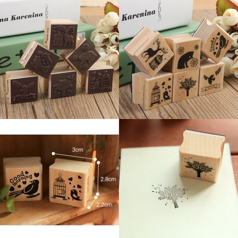 Beautiful Design Best Price Cute DIY Retro Vintage Forest Animal Diary Album Scrapbook Wooden Rubber Stamp Good For Collection(China (Mainland))